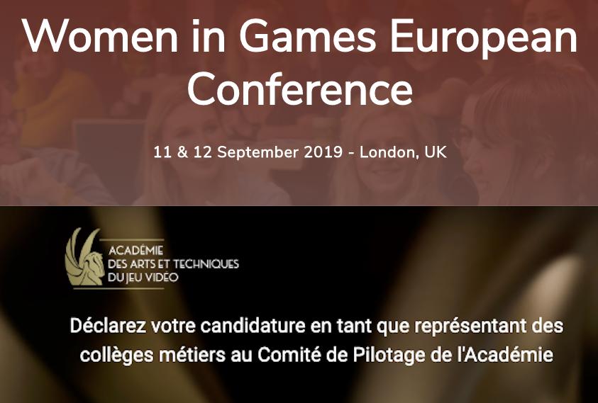 Votez pour WIG aux Awards de la European Women in Game Conference et appel à candidatures pour l'Académie du JV